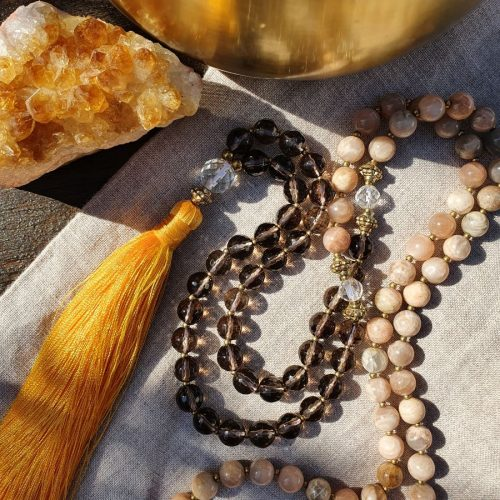 Peach amazonite mala beads
