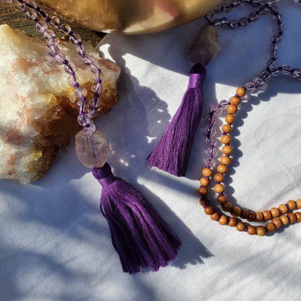 Amethyst mala bead necklace uk