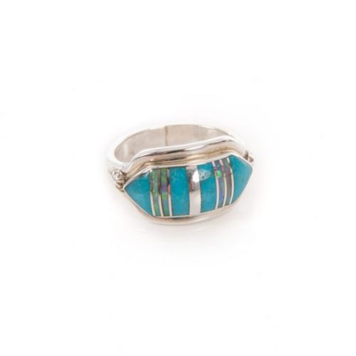 Lab Opal Navajo Inlay Ring