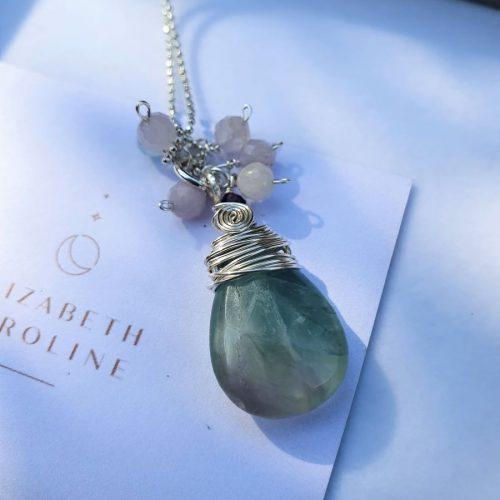 Flourite gemstone necklace