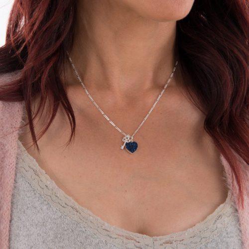 Silver Druzy Quartz Key To My Heart Necklace