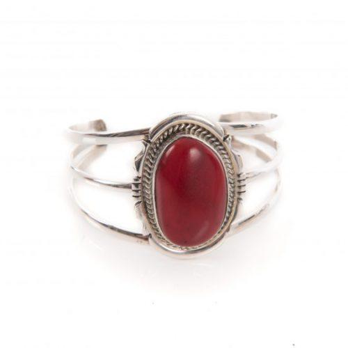 Red Coral Navajo Cuff Bracelet