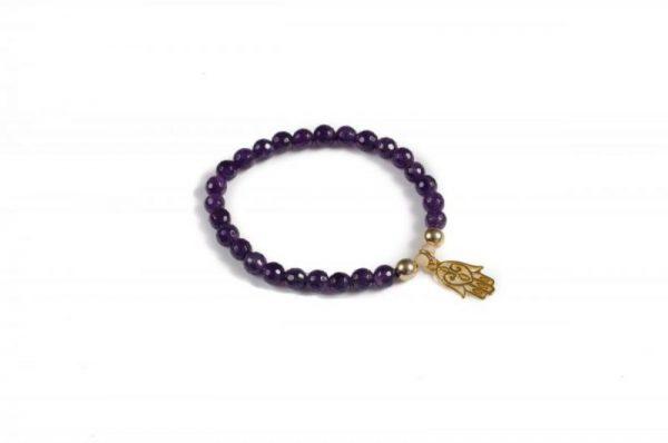 Gemstone Hamsa Hand Bracelet