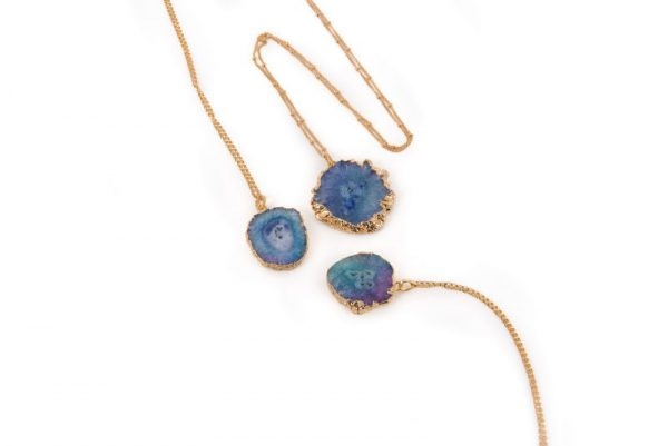 Blue Solar Quartz Pendant Necklace