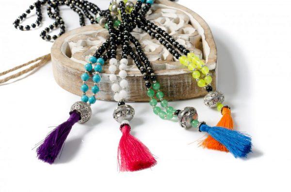 White Lotus Mantra Mala Necklace