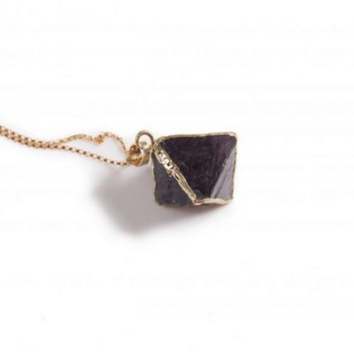 Purple Flourite Octahedron Pendant Necklace