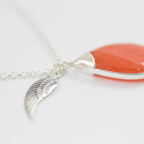 Orange Jade Angel Pendant Necklace