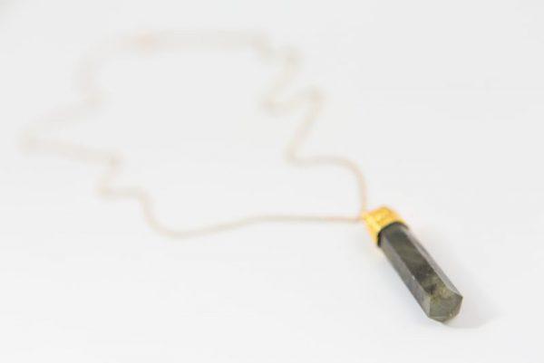 Labradorite Pencil Point Pendant Necklace