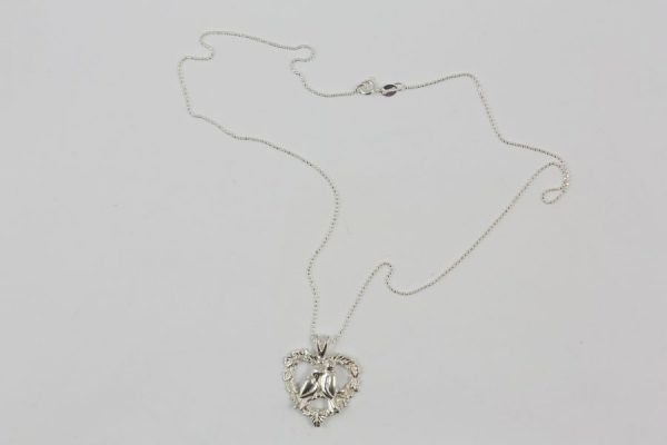 Silver Love Doves Necklace