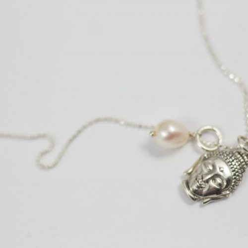 Sterling Silver Buddha and Pearl Necklace