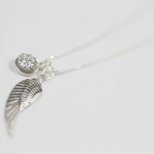 Sterling Silver Druzy Angel Wing Necklace