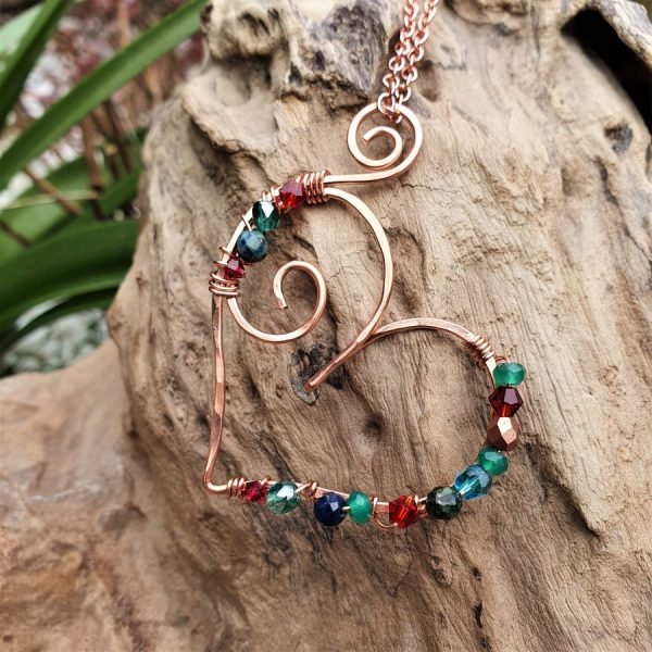 Wire Wrapped Heart Pendant Necklace