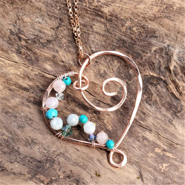 Wire Wrapped Gemstone Heart Pendant