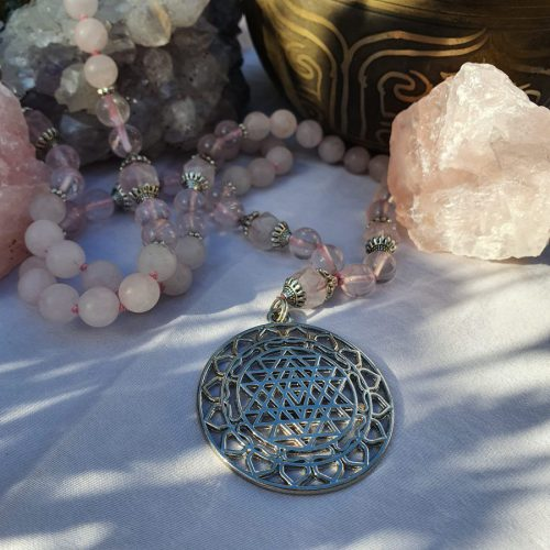 Sri Yantra Rose Quartz Mala