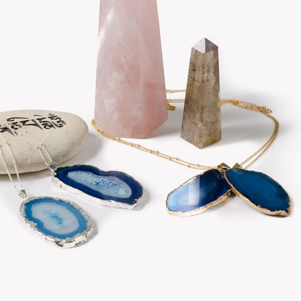 Blue Sterling Silver Agate Slice Necklace