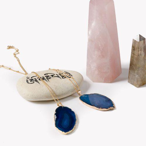 Blue Agate Slice Gold Necklace