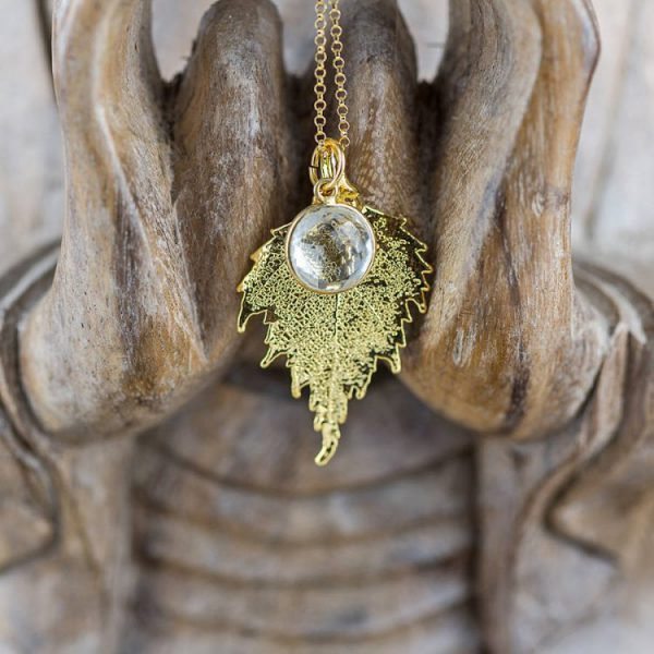 Gold Birch Leaf Quartz Necklace