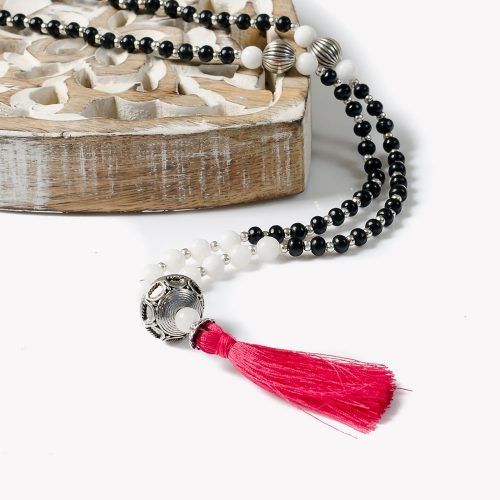 White Lotus Mantra Mala Necklace