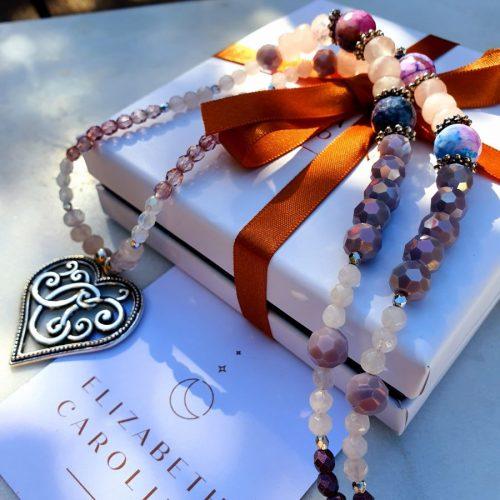 Rose quartz elizabeth caroline necklace