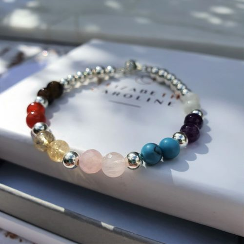 gemstone chakra stacking bracelet