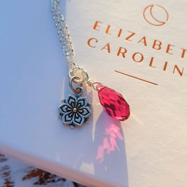 Ruby lotus flower necklace