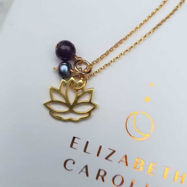 amethyst and pearl lotus pendant