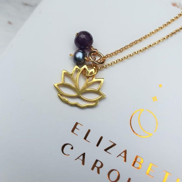 amethyst lotus pendant necklace