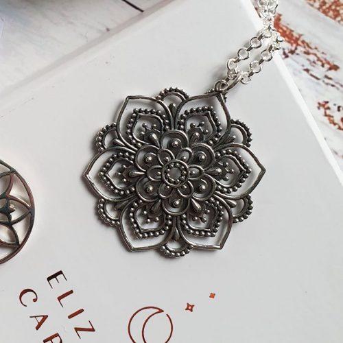 Elizabeth Caroline Sterling Lotus Mandala Pendant.
