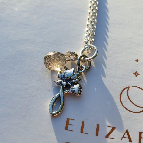 Lotus flower labradorite necklace