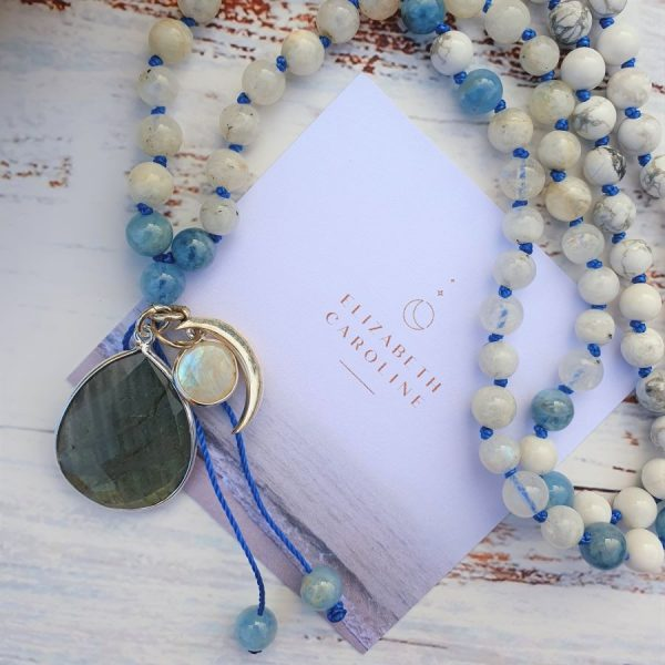 Howlite and Moonstone Mala Necklace