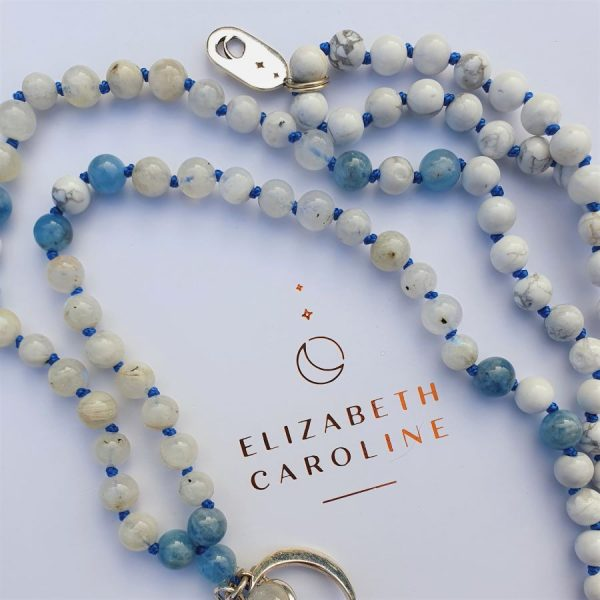 Moonstone and Howlite mala necklace