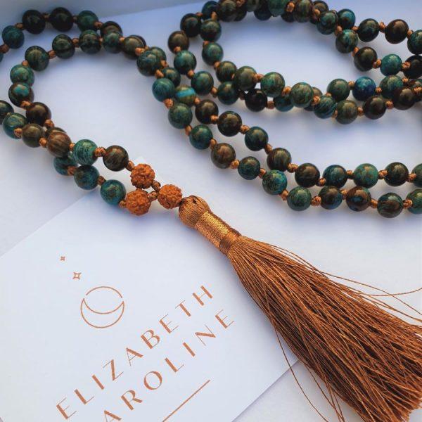crysocolla mala necklace