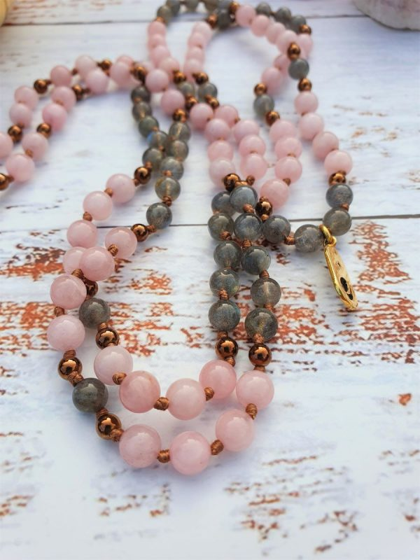 Elizabeth Caroline Rose Quartz Mala Jewellery