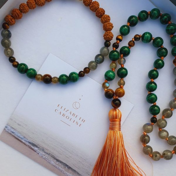 Elizabeth Caroline Malachite Mala Necklace