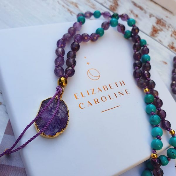 Turquoise and amethyst malabeads