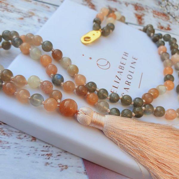 Peach Moonstone Mala Necklace