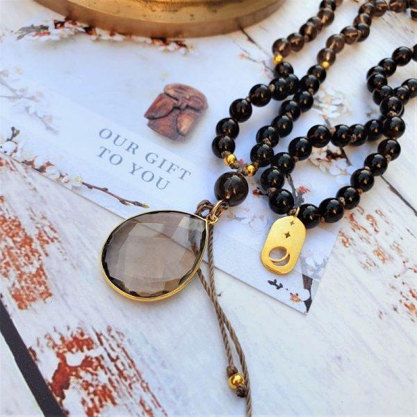 Smokey quartz mala necklace