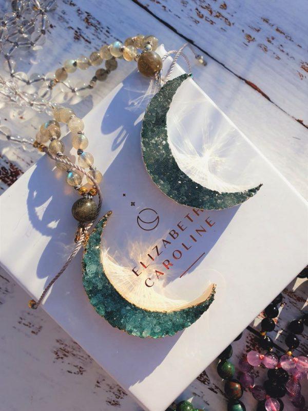 Druzy moon mala necklaces