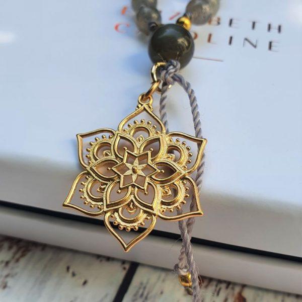 Gold lotus mala bead necklace
