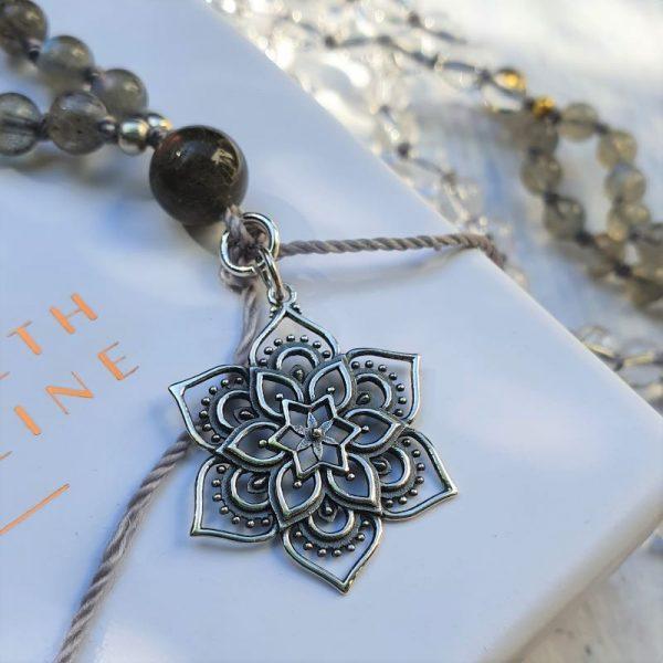 Silver lotus mala necklace
